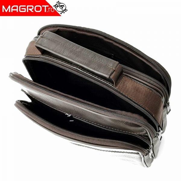 Borseta mare de umar si mana 25/21 ,din piele naturala maro, Magrot 2509