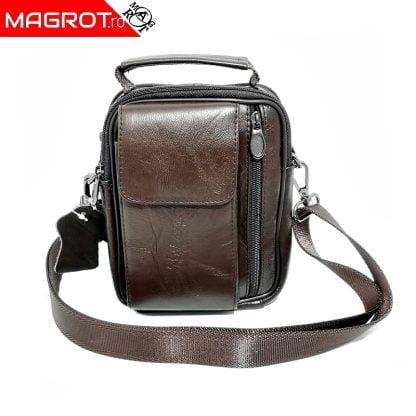 Borseta din piele naturala, cu suport telefon, pentru mana, umar sau curea, Magrot 5006