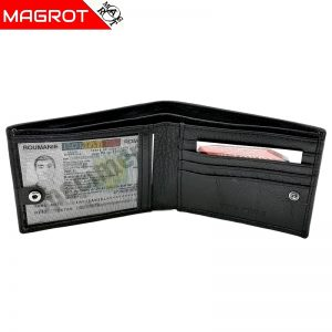 Portofel barbatesc Magrot, din piele naturala neagra cu capsa, 008 AK