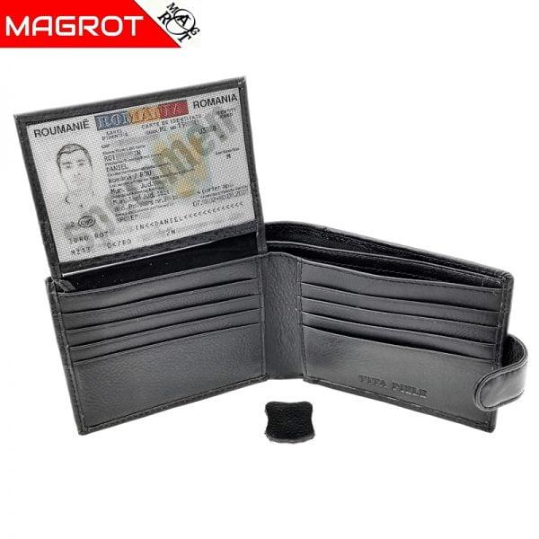 Portofel barbatesc Magrot, din piele naturala neagra cu capsa, 004-Yk