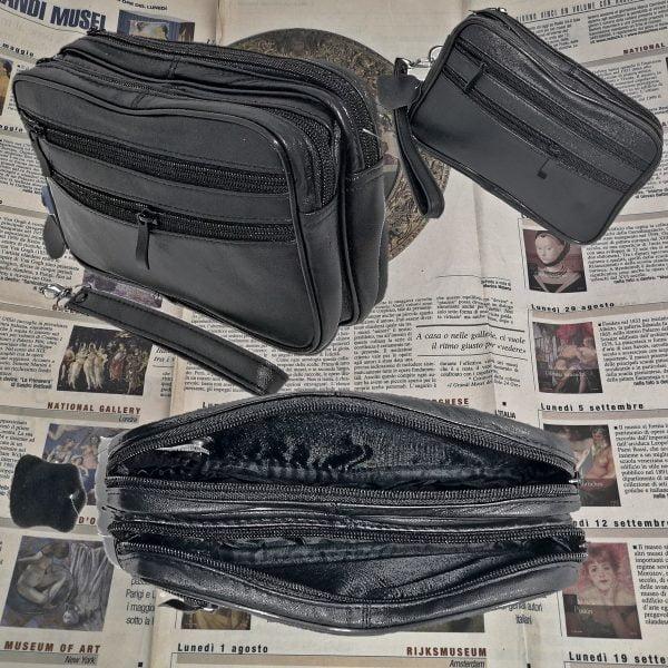 Borseta barbateasca de mana, neagra, din piele naturala neteda,14/22, magrot 8666
